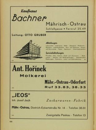 Adressbuch und Branchenbuch für den Oberlandratsbezirk Mährisch Ostrau (Mährisch Ostrau, Schlesisch Ostrau, Friedeck, Friedberg, Wallachisch Meseritsch und Wsetin) Str. 680