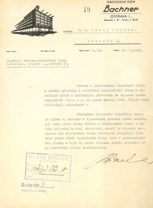 Dopis na hlavičkovém papíře s logem obchodního domu Bachner, 30. 1. 1948
